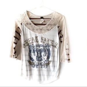 Free people Montana graphic tshirt lace patchwork